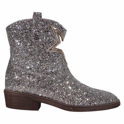 Stivali camperos argento con glitter