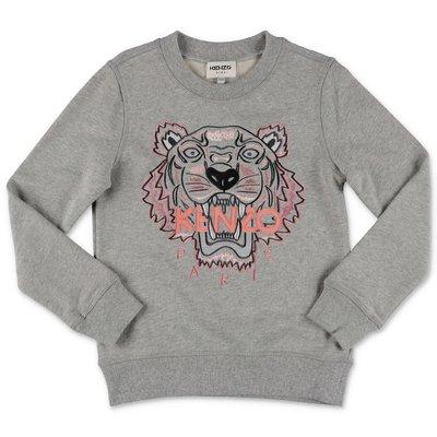 KENZO melange grey cotton Tiger sweatshirt