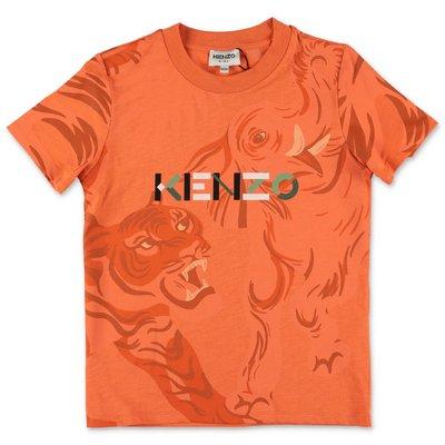 KENZO t-shirt arancio in jersey di cotone