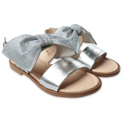 Florens silver leather sandals with bow