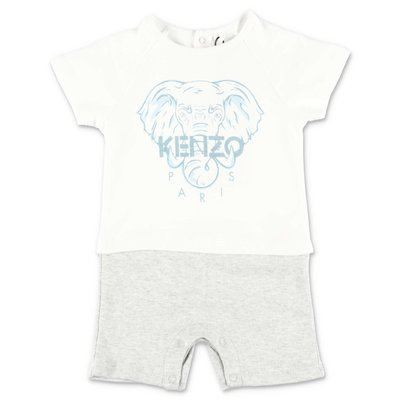 KENZO white & grey cotton jersey romper