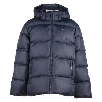 Blue nylon hooded down jacket