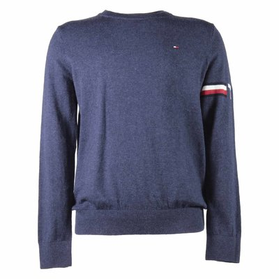 Blue cotton & cashmere knit jumper