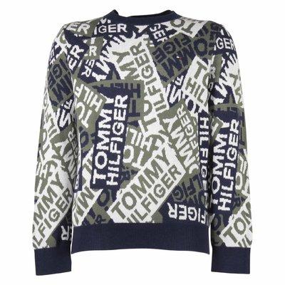 Pullover in maglia di cotone con logo jacquard