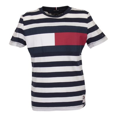 Blue and white striped logo detail organic cotton jersey t-shirt