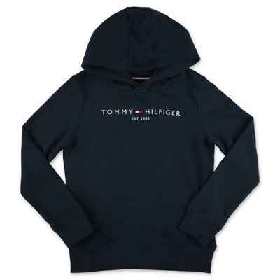 Tommy Hilfiger navy blue logo detail cotton hoodie