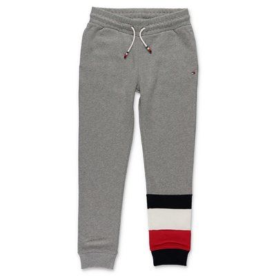 Tommy Hilfiger pantaloni grigio melange in felpa di cotone organico