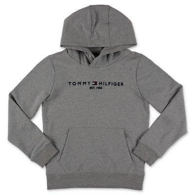 Tommy Hilfiger felpa grigio melange in cotone organico con logo e cappuccio