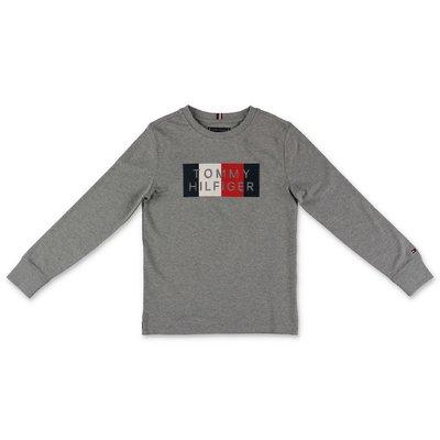 Tommy Hilfiger t-shirt grigio melange in jersey di cotone con logo