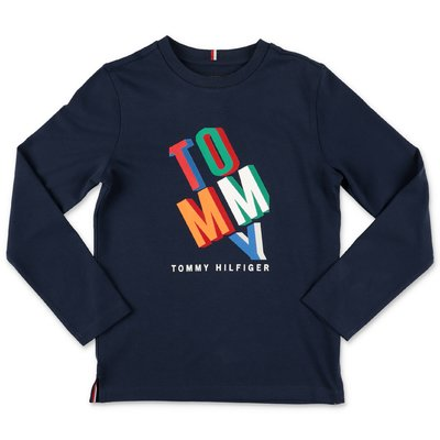 Tommy Hilfiger t-shirt blu navy in jersey di cotone con logo