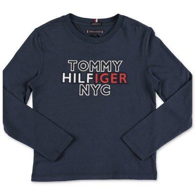 Tommy Hilfiger t-shirt blu navy in cotone organico con logo