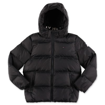 Tommy Hilfiger black nylon down feather jacket with hood