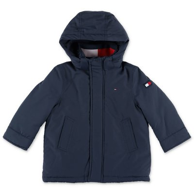 Tommy Hilfiger navy blue nylon parka jacket with hood