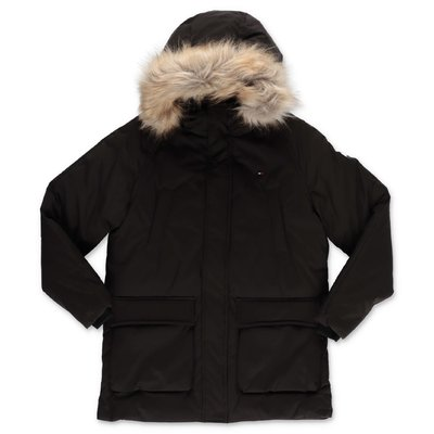 Tommy Hilfiger black nylon parka jacket with hood