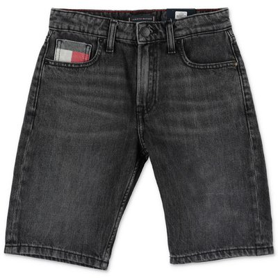 Tommy Hilfiger shorts neri in denim di cotone stretch
