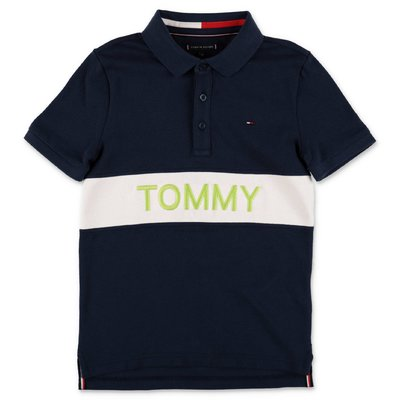 Tommy Hilfiger polo blu navy in piquet di cotone