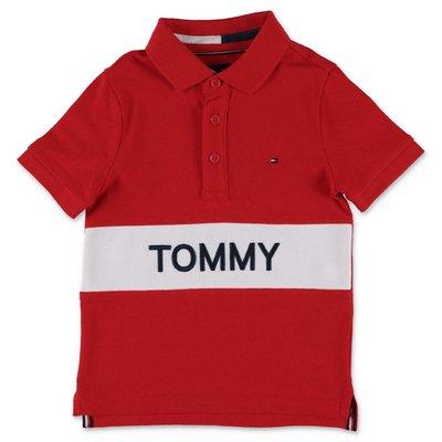 Tommy Hilfiger polo rossa in piquet di cotone