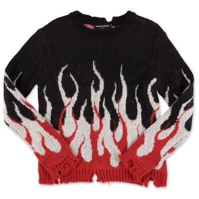 Vision of Super black knit jumper with intarsia decoration