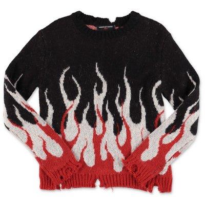 Vision of Super pullover nero in maglia con decorazione a intarsio