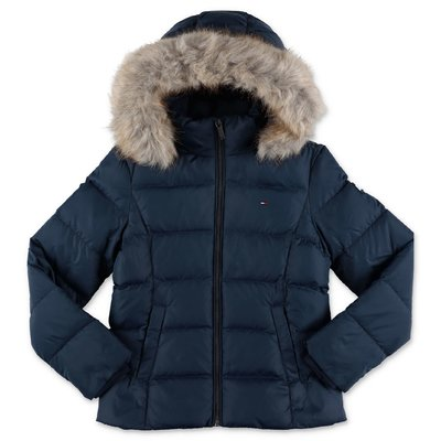 Tommy Hilfiger navy blue nylon down feather jacket with hood