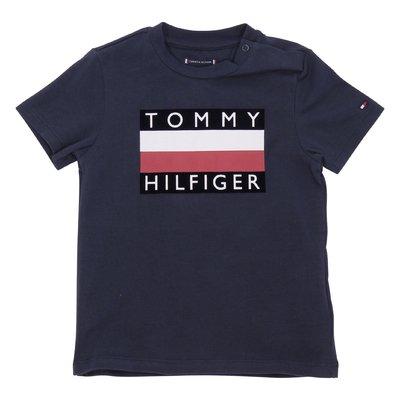 T-shirt blu navy in jersey di cotone con logo
