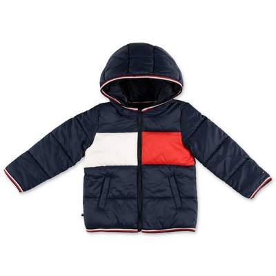 Tommy Hilfiger navy blue nylon hooded down jacket