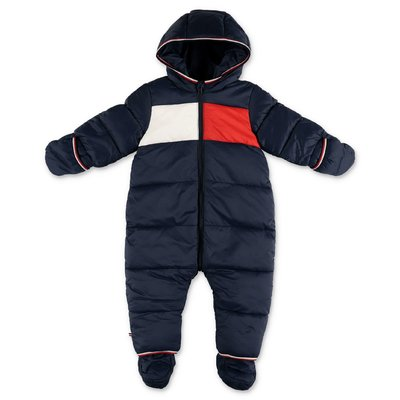 Tommy Hilfiger navy blue nylon hooded down romper