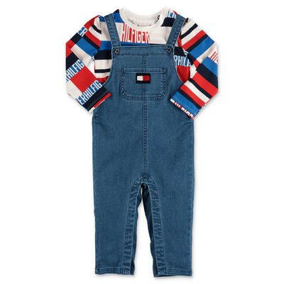 Tommy Hilfigher blue denim overalls and multicolor jersey t-shirt set
