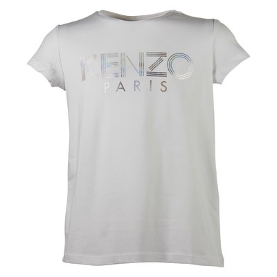 white girl cotton jersey t-shirt with logo detail