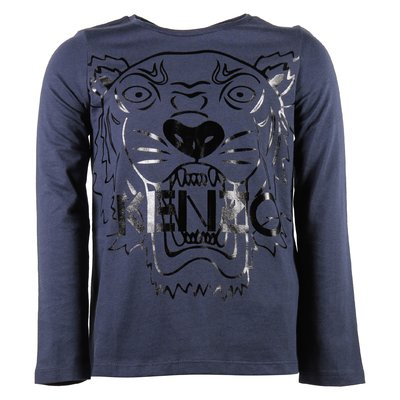 blue navy cotton jersey girl Tiger print t-shirt