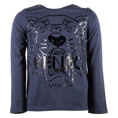 blue navy cotton jersey girl Tiger print t-shirt