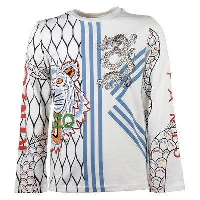 white cotton jersey boy Tiger & Dragon print t-shirt