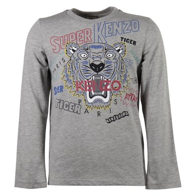 marled grey cotton jersey tiger print t-shirt