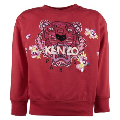 red mixed cotton girl Tiger sweatshirt