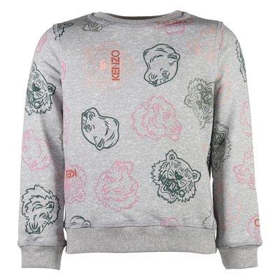 grey cotton girl Tiger Iconic print sweatshirt