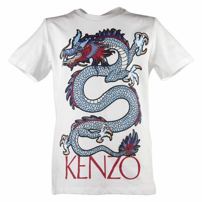 White cotton jersey Dragon t-shirt