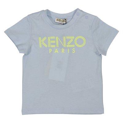 T-shirt azzurra in jersey di cotone con logo