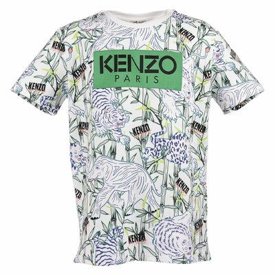 White logo detail jungle theme cotton jersey t-shirt