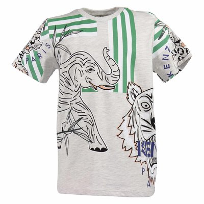 Melange grey cotton blend Tiger & Elephant t-shirt