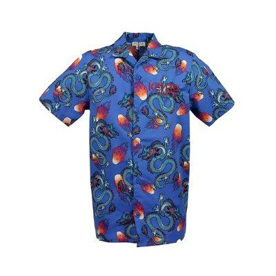 Camicia blu in popeline di cotone