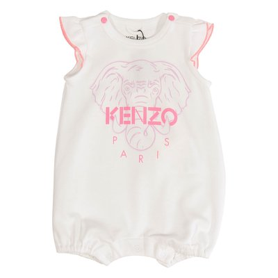White logo detail cotton jersey Elephant romper