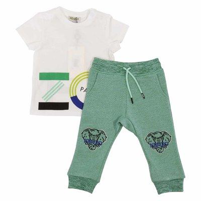 Completo bianco e verde in cotone con dettaglio logo