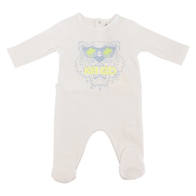 White organic cotton Tiger romper