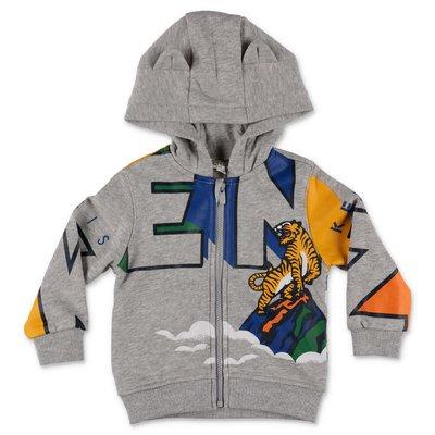 KENZO melange grey cotton hoodie