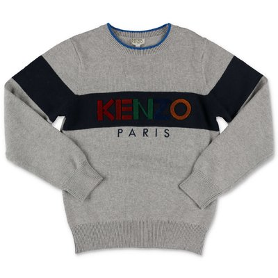 KENZO grey cotton & cashmere knit jumper