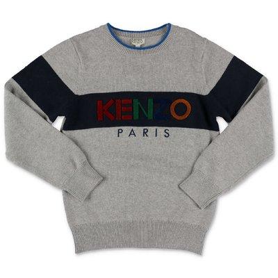 KENZO pullover grigio in maglia di cotone e cashmere