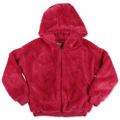 KENZO fuchsia faux fur jacket with hood