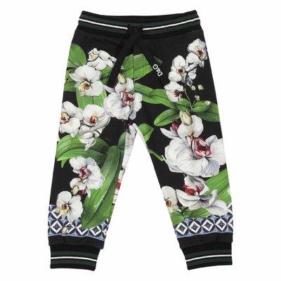 Pantaloni stampa floreale in felpa di cotone