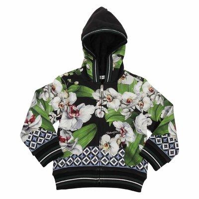 Floral print cotton sweatshirt hoodie