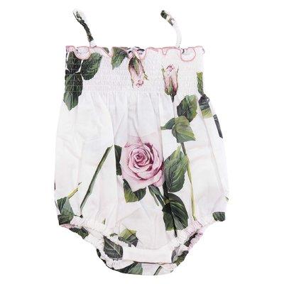 Body stampa floreale in popeline di cotone